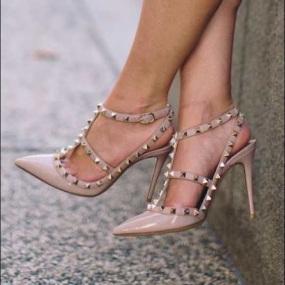 new images of high quality store Valentino rockstud nude poudre patent heels 37.5